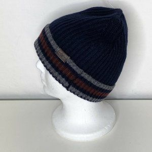 Hickey Freeman Ribbed Knit Cashmere Cuffed Men's Beanie Stripes Blue/Maroon New